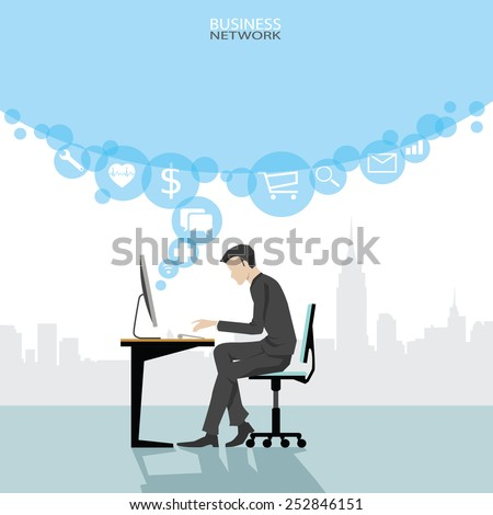 illustration of office workplace. Business man working at computer. - stock vector