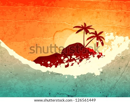 illustration of tropical sea and island with palms at sunset - stock vector