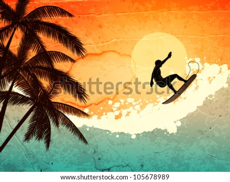 illustration of tropical sea, surfer and  palms at sunset - stock vector