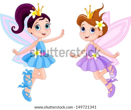 Illustration of two cute fairies in fly - stock vector