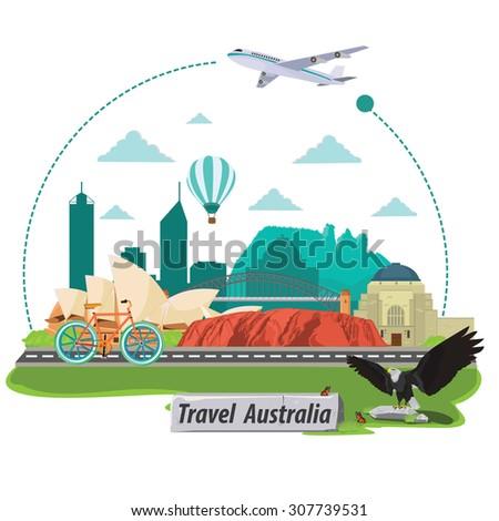 illustration. travel around australia. - stock vector