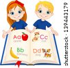 Illustration two kids and ABC book - stock vector