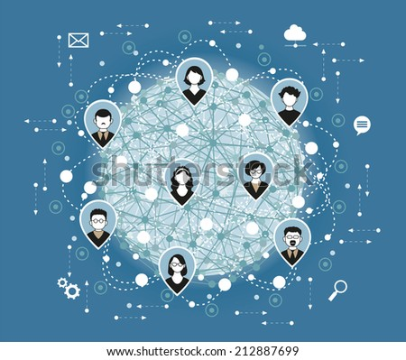 Illustration, Vector. Social media network connection concept. - stock vector