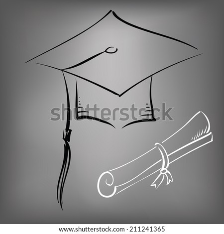 illustration with black graduation cap on a gray background - stock vector