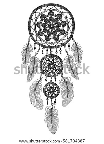 Illustration Hand Drawn Dream Catcher Feathers Stock