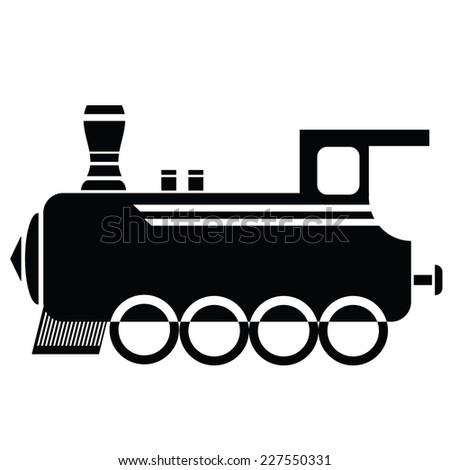 illustration with locomotive icon on a white background - stock vector