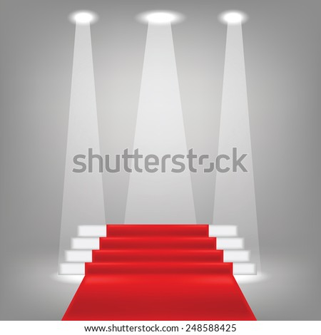 illustration  with red carpet on grey background - stock vector