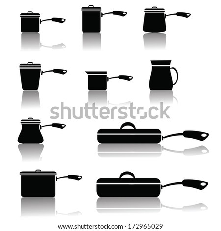 illustration with set of pots and pans for your design - stock vector