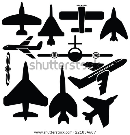 illustration with silhouettes airplane icons  on  a white background - stock vector