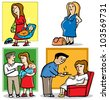4 illustrations of mother in pregnant and a baby - stock photo