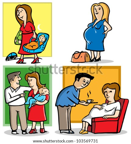 4 illustrations of mother in pregnant and a baby - stock vector