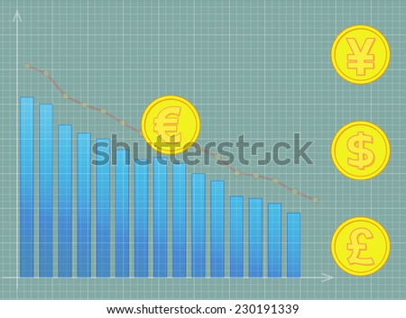image of euro, pound, dollar, yen on chart. Transparency and clipping path used. - stock vector
