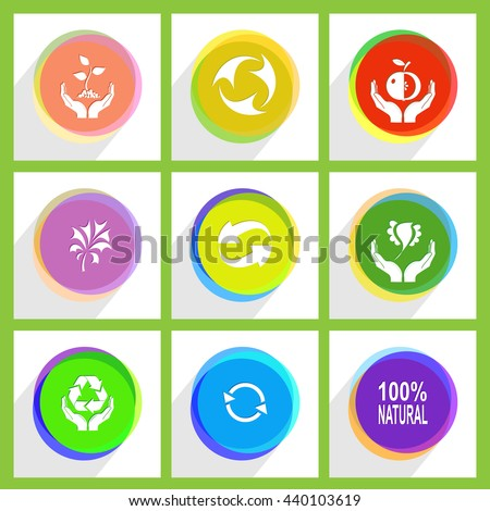 """9 images: apple in hands, bird, label """"100% natural"""", recycle symbol, plant, protection nature. Ecology set. Internet template. Vector icons. - stock vector"""