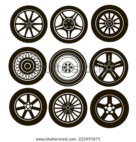 9 images black car wheels on a white background - stock vector
