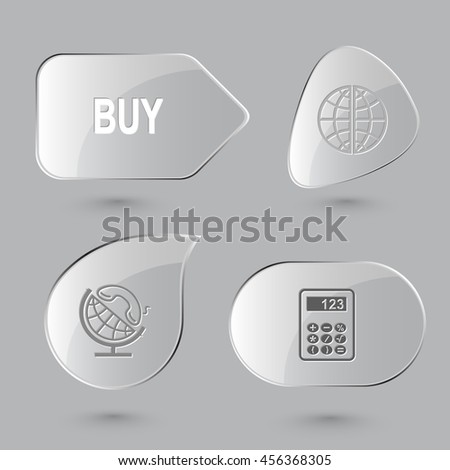 4 images: buy, globe and handset, calculator. Business set. Glass buttons on gray background. Vector icons. - stock vector