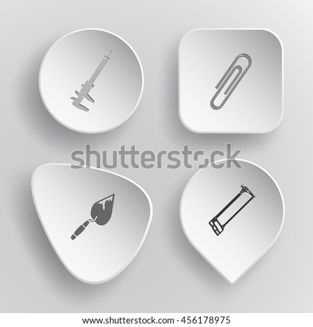 4 images: caliper, clip, trowel, hacksaw. Angularly set. White concave buttons on gray background. Vector icons. - stock vector