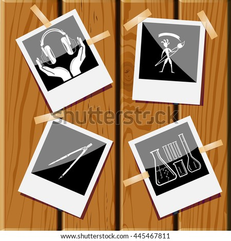 4 images: chemical test tubes, ethnic little man with brush, caliper, headphones in hands. Education set. Photo frames on wooden desk. Vector icons. - stock vector