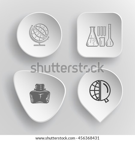 4 images: chemical test tubes, inkstand, globe and magnifying glass. Education set. White concave buttons on gray background. Vector icons. - stock vector