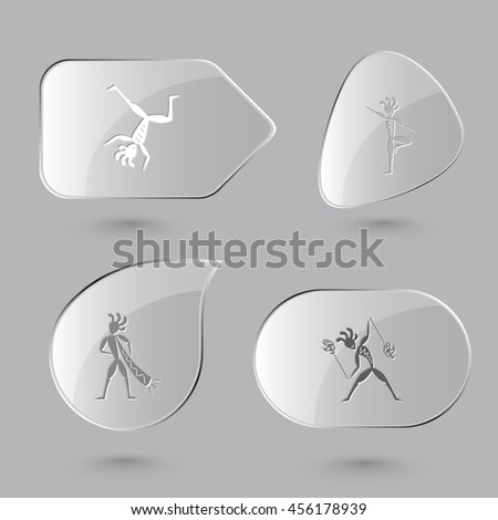 4 images: dancing ethnic little man, as yogi, with trumpet, with fire poi. Ethnic set. Glass buttons on gray background. Vector icons. - stock vector