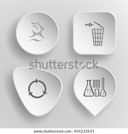 4 images: deer, bin, recycle symbol, chemical test tubes. Ecology set. White concave buttons on gray background. Vector icons. - stock vector