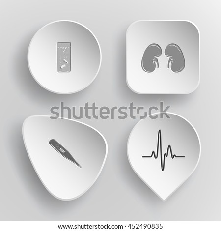 4 images: glass with tablets, kidneys, thermometer, cardiogram. Medical set. White concave buttons on gray background. Vector icons. - stock vector