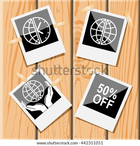 4 images: globe and clock, globe, 50% OFF, protection world. Business set. Photo frames on wooden desk. Vector icons. - stock vector