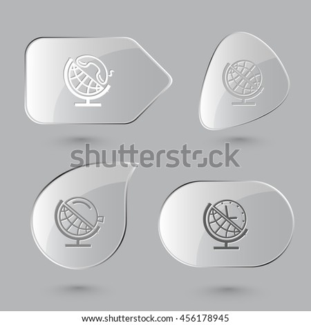 4 images: globe and handset, and loupe, and clock. School globe set. Glass buttons on gray background. Vector icons. - stock vector