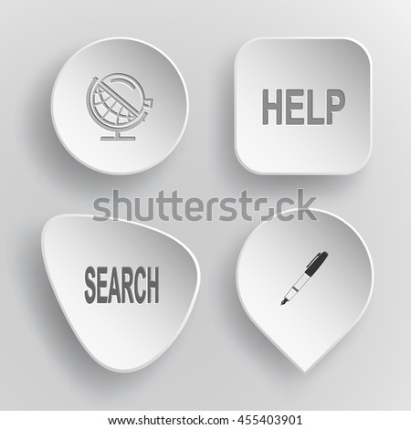 """4 images: globe and loupe, labels """"help"""" and """"search"""", ink pen and pencil. Education set. White concave buttons on gray background. Vector icons. - stock vector"""