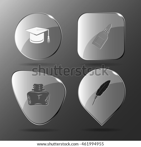 4 images: graduation cap, glue bottle, inkstand, feather. Education set. Glass buttons. Vector illustration icon.