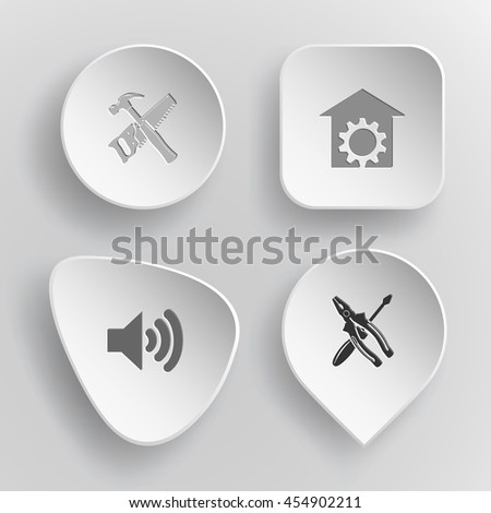 4 images: hand saw and hammer, repair shop, loudspeaker, screwdriver and combination pliers. Tehnology set. White concave buttons on gray background. Vector icons. - stock vector