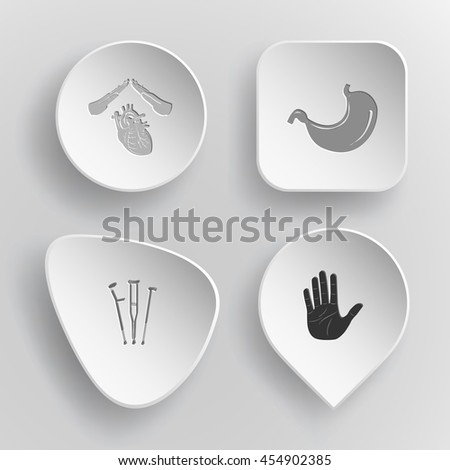 4 images: heart protect, stomach, crutches, stop hand. Medical set. White concave buttons on gray background. Vector icons. - stock vector