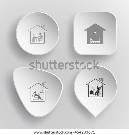 4 images: home work, hotel, reading, watching TV. Home set. White concave buttons on gray background. Vector icons. - stock vector