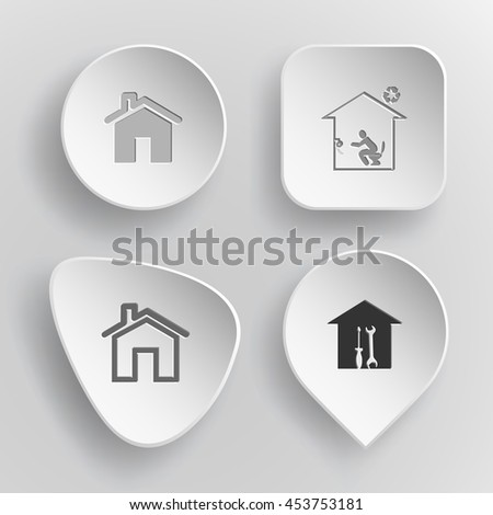 4 images: homes, toilet, workshop. Home set. White concave buttons on gray background. Vector icons. - stock vector
