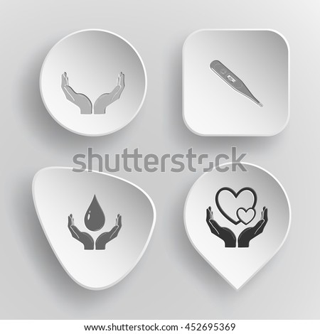 4 images: human hands, thermometer, protection blood, love. Medical set. White concave buttons on gray background. Vector icons. - stock vector