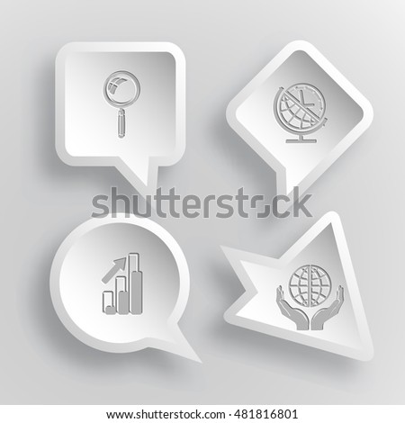 4 images: magnifying glass, globe and clock, diagram, protection world. Business set. Paper stickers. Vector illustration icons.