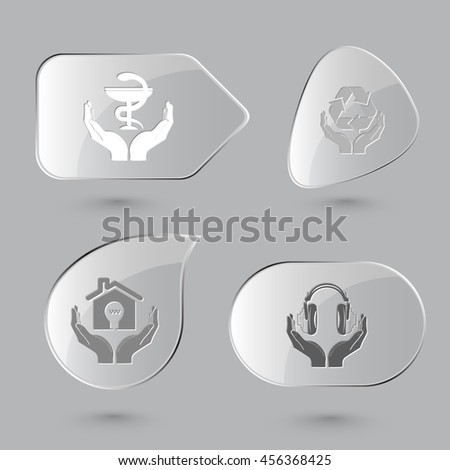 4 images: pharma symbol in hands, protection nature, economy, headphones. In hands set. Glass buttons on gray background. Vector icons. - stock vector