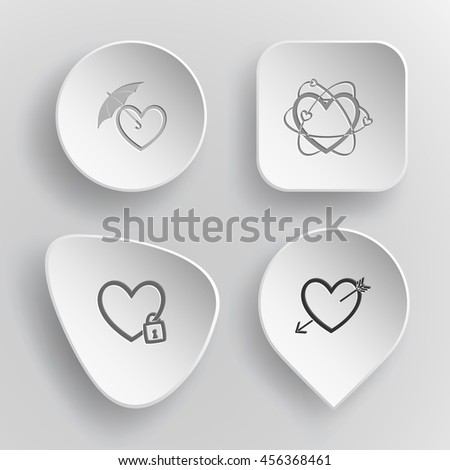 4 images: protection love, atomic heart, closed, and arrow. Heart shape set. White concave buttons on gray background. Vector icons. - stock vector