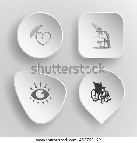 4 images: protection love, lab microscope, eye, invalid chair. Medical set. White concave buttons on gray background. Vector icons. - stock vector