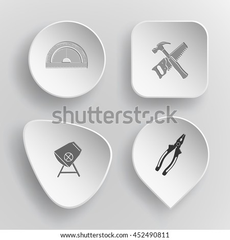 4 images: protractor, hand saw and hammer, concrete mixer, pliers. Industrial tools set. White concave buttons on gray background. Vector icons. - stock vector