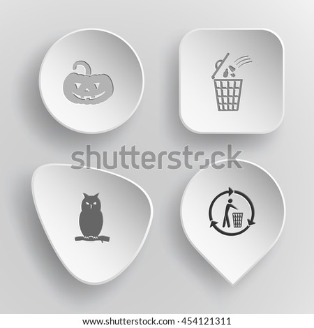 4 images: pumpkin, bin, owl, recycling bin. Nature set. White concave buttons on gray background. Vector icons. - stock vector