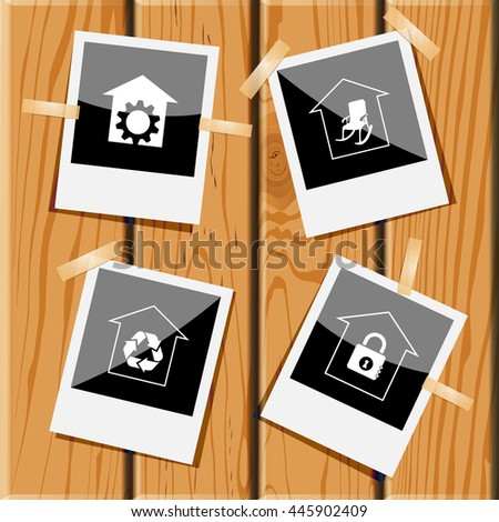 4 images: repair shop, home comfort, protection of nature, bank. Home set. Photo frames on wooden desk. Vector icons. - stock vector