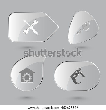 4 images: screwdriver and spanner, trowel, repair shop, electric drill. Industrial tools set. Glass buttons on gray background. Vector icons. - stock vector