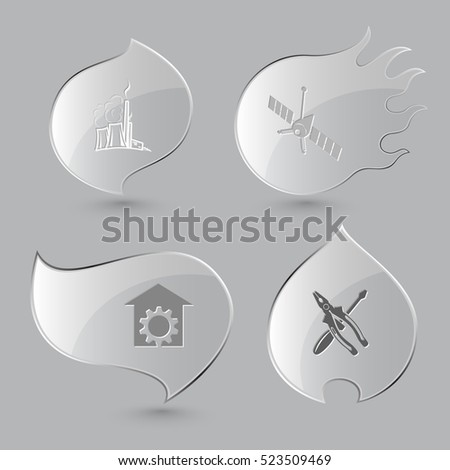 4 images: thermal power engineering, spaceship, repair shop, screwdriver and combination pliers. Tehnology set. Glass buttons on gray background. Fire theme. Vector icons.