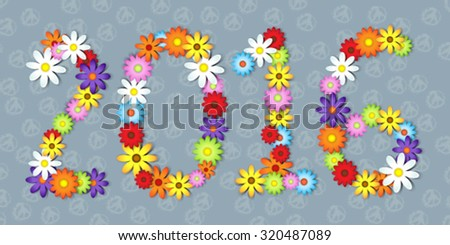 2016 in colorful flowers over peace symbol background - stock vector