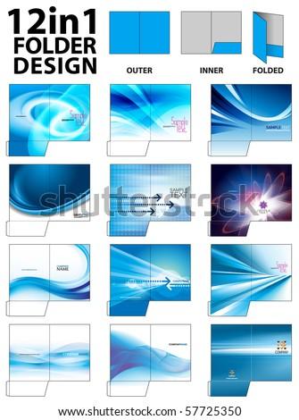 12 in 1 Folder Design Templates - stock vector