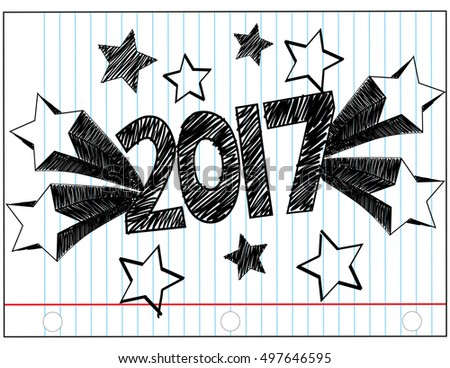 2017 in Hand Written Block Letters on a Notebook Paper Background