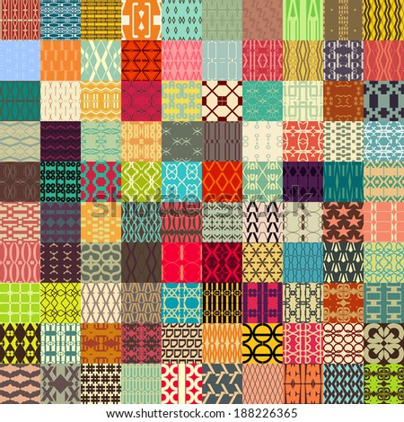 100 in 1 of Retro vector seamless patterns. Endless texture can be used for wallpaper, pattern fills, web page background, surface textures. - stock vector