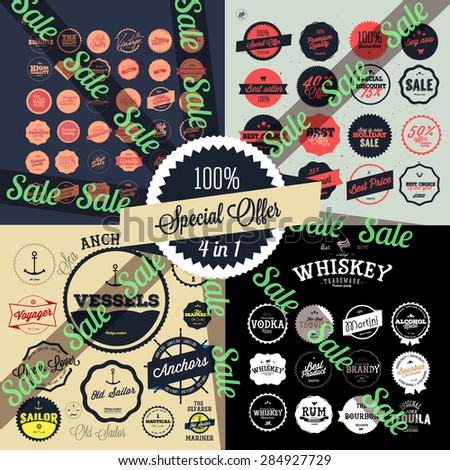 4 in 1 Set of Retro Premium Quality Labels Set  /  Premium Vintage Whiskey Alcohol labels and badges  /  Vintage nautical labels and badges - stock vector