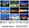 9in1 Vector Blurry Lights Collection - stock vector