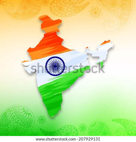 India map in national flag tricolors floral Abstract  background for India Independence Day.  - stock vector